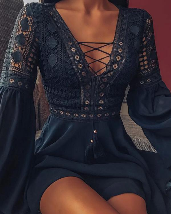 Lace Embroidery Rope Dress