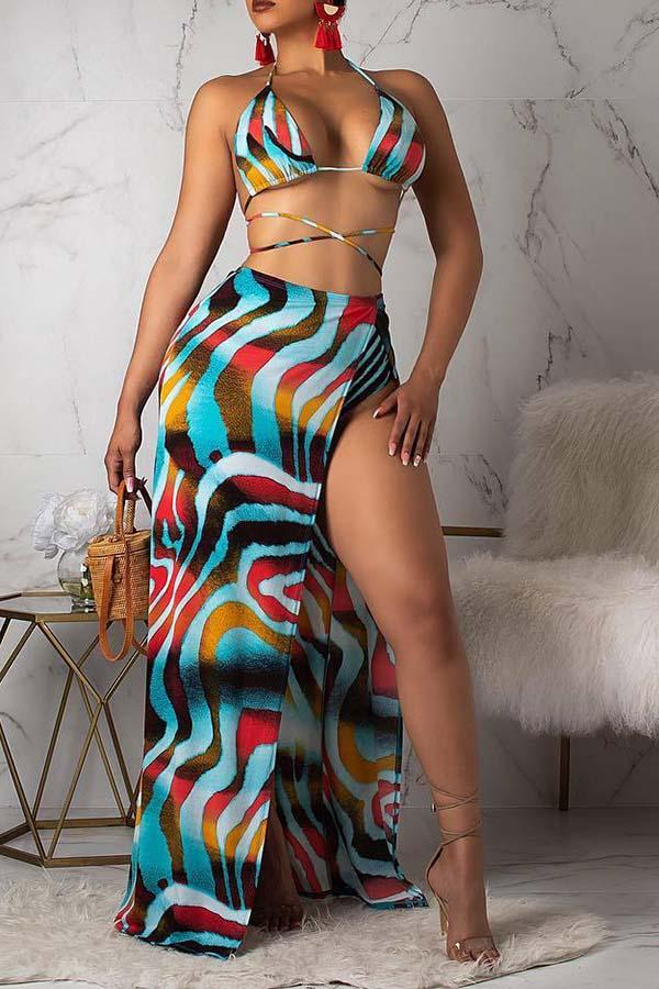 Colorful Stripe Lace Up Three Piece Swimsuit