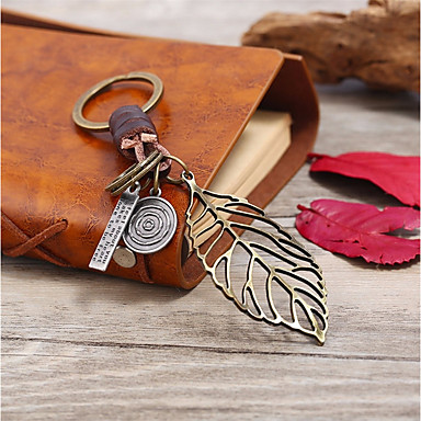 Keychain Leaf Vintage Fashion Ring Jewelry Brown For Gift Daily
