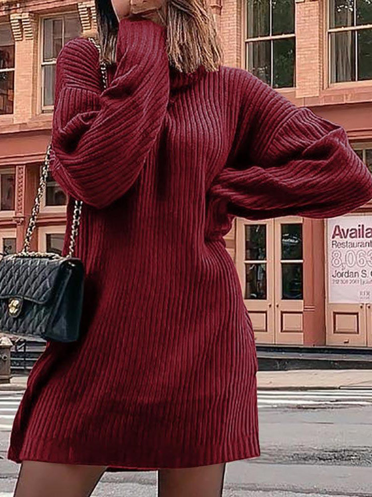 Women's high neck sexy long sleeve sweater dress