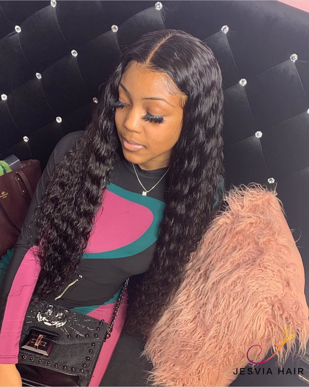 Lace Front Black Wig ebony wigs near me long black wig with bangs Lace hair