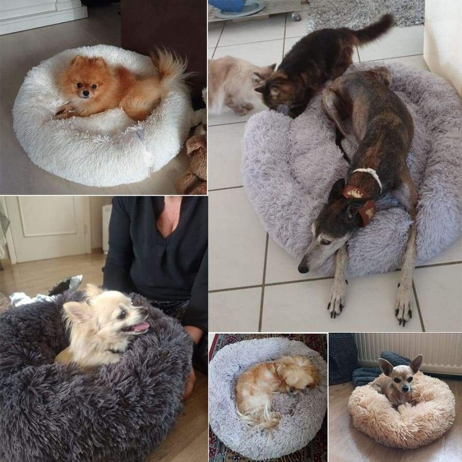 Large Dog Bed Puppy Beds Soft Plush Bed Round Shape Sleeping Bed Kennel Cat Puppy Sofa Cushion House Kennels Matt Pads 60/70/80/100CM