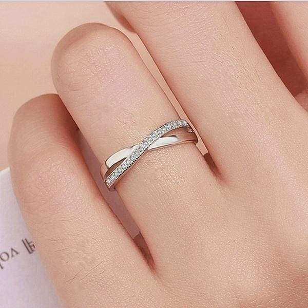 Women Fashion Exquisite 925 Sterling Silver X Shaped Diamond Rings
