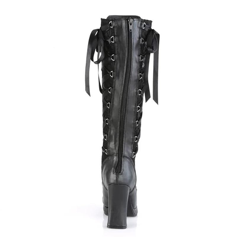 Medieval Steampunk Punk Style Women High Heel Leather Boots Gothic Lolita Knee High Boots Cute Zipper Buckle Lace Up Bandage Boots Autumn Winter Black Platform Tall Boots Stivali Donna Botas