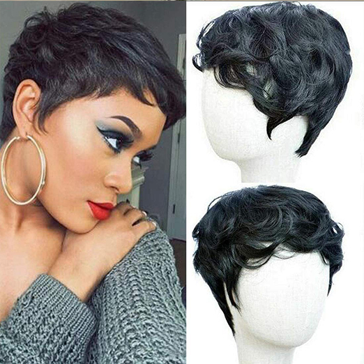 Luna 019 Short Pixie Black Synthetic Wigs for Black Women