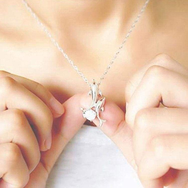 Cute 925 Silver Double Dolphin Rhinestone Short Chain Pendant Necklace Jewelry