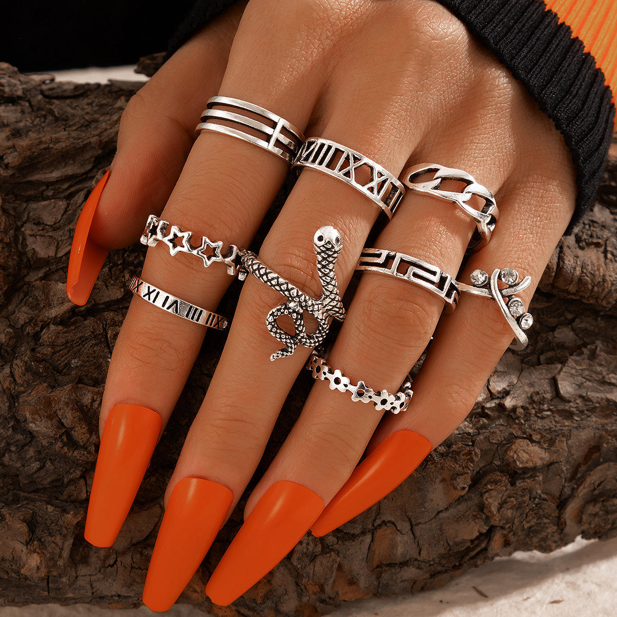 9-piece Popular Exaggerated Snake-Shaped Five-Pointed Star Ring