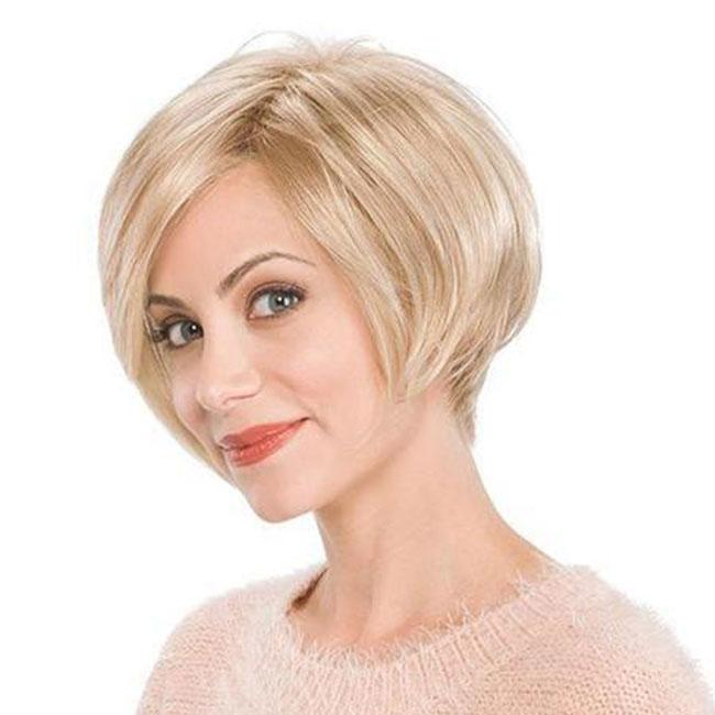 KAMI 018 Short Straight Pixie Bob Wig Blonde Wigs For Women