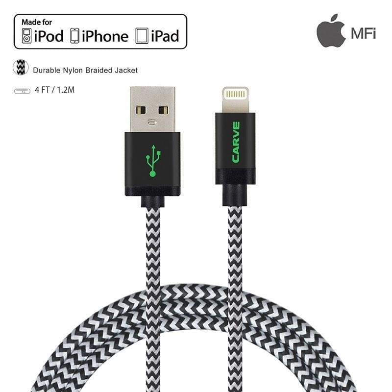 CARVE 3-Pack Apple MFi Certified 0.6ft / 4ft / 6ft / 10ft  Nylon Braided Lightning Cable for iPhone 5 / 5s / 5c / 6 / 6s / 6 Plus / 6s Plus / 7 ,iPod,iPad Air 2 / Pro and  iPad Mini