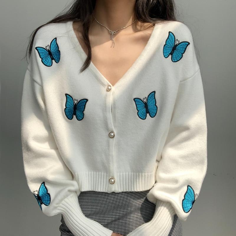 Butterfly Embroidered Cardigan