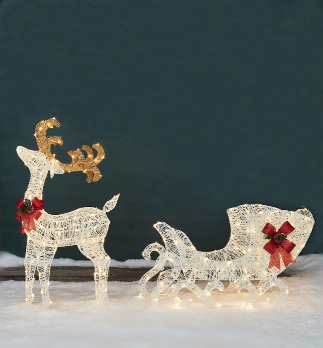 🦒 Light Up Reindeer & Sleigh Ornaments🦒
