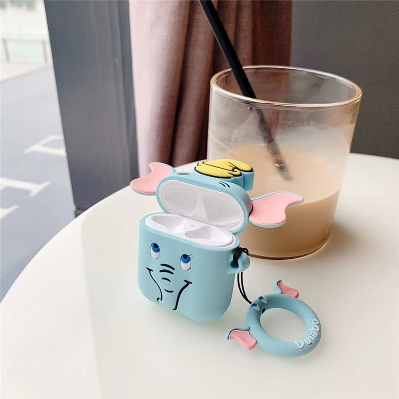 New 3D Cute Elephant Silicone AirPods Earphone Protection Set Airpods Protective Cover Shockproof Sleeve Protective Cover(Airpods Not Included)
