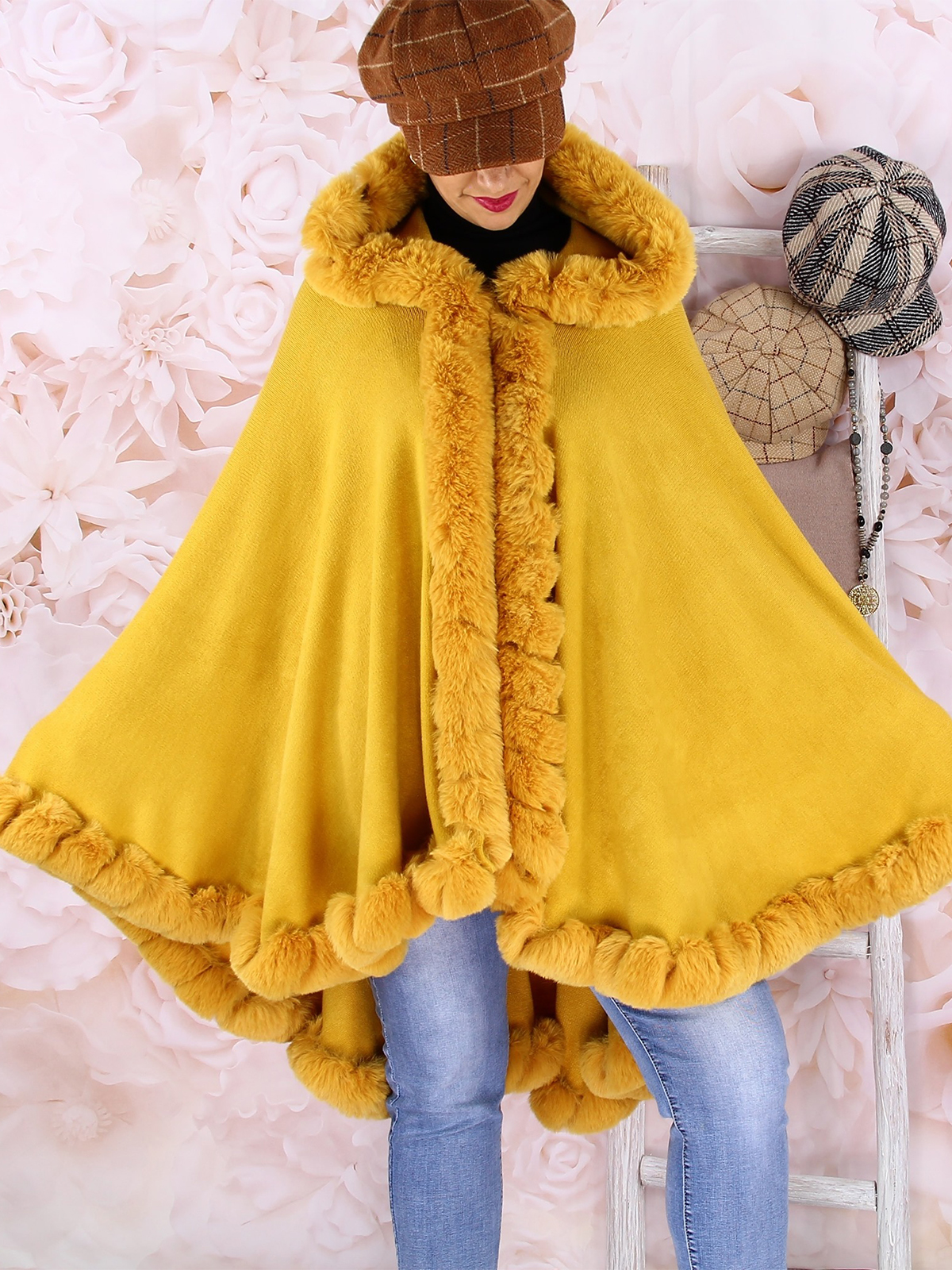 Casual Cotton,Polyester Long Sleeve with Cloak/shawl