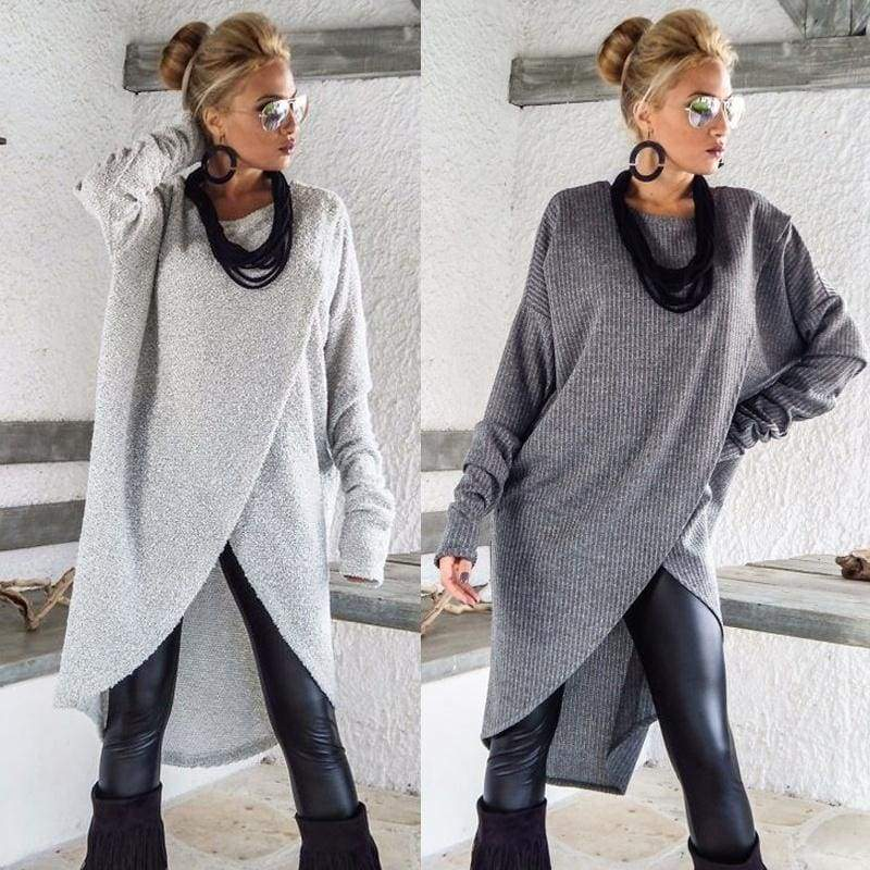 Ladies Plus Size S-5XL Long Sleeve Pullover Front Slit Knitted Blouse Tops Sweaters