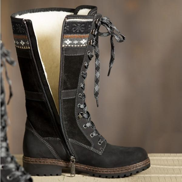 Latest Winter Knee High Lace Up Zipper Boots