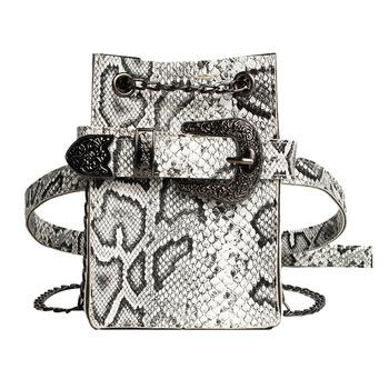 Fashion Snake Shoulder Crossbody Women's Phone Bag Fanny Pack Ladies Waist Bag High Quality Belt Bags-1.9