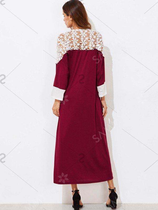Contrast Lace Insert Maxi Dress - Red Wine - M