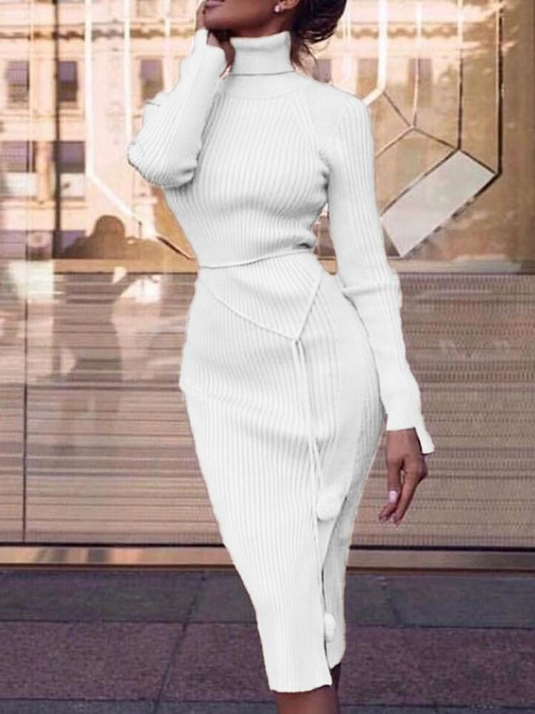 Turtleneck Long Sleeve Mid-Calf Casual Plain Dress