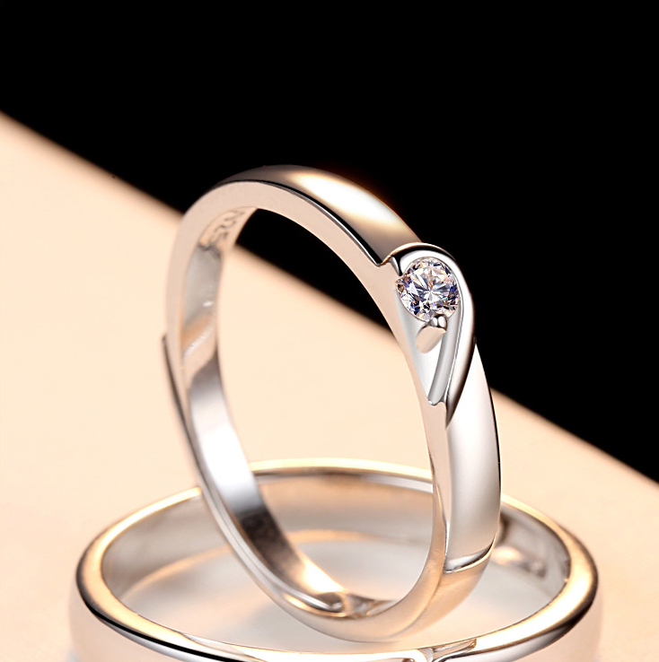 Lovers Rings Love Heart Shaped Diamond Open Zircon Rings Men's And Women's Rings Wedding Jewelry