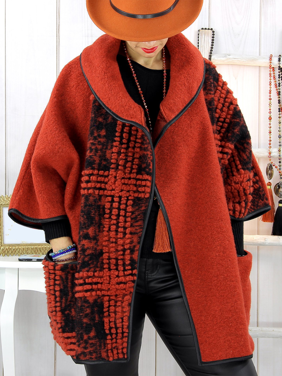 Casual Cotton,Polyester Long Sleeve with Overcoat