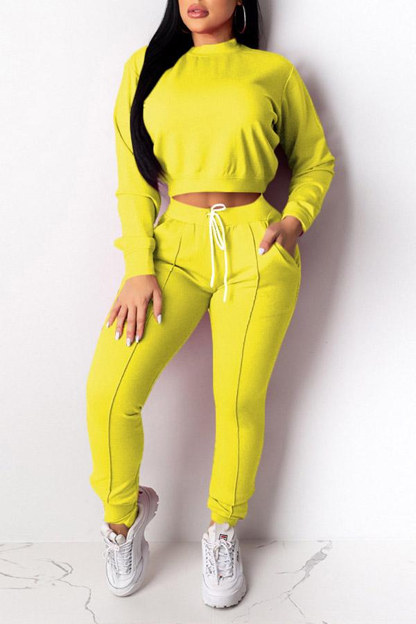Sports Solid Color Long Seeve Suit