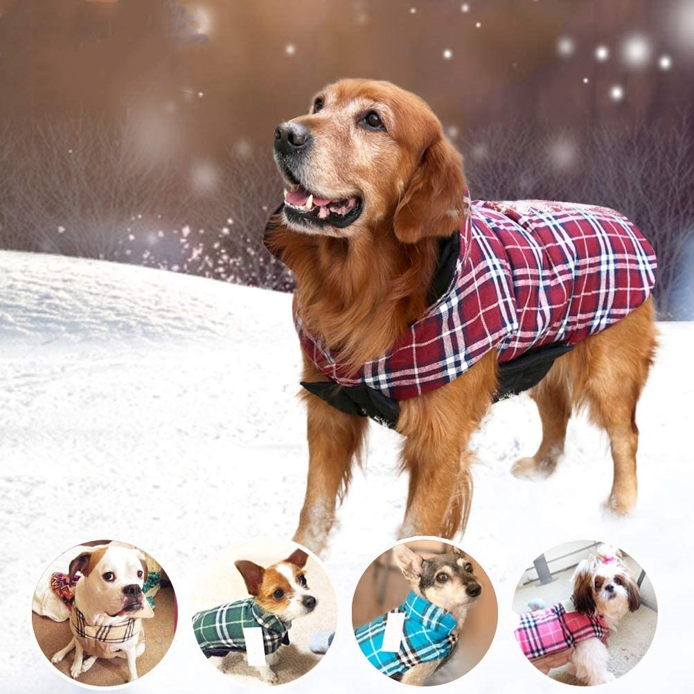 Warm Waterproof Windproof Reversible British Style Plaid Dog Vest