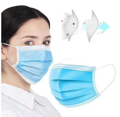 50pcs 3 Layer Disposable Protective Face Mouth Masks Facial Dust