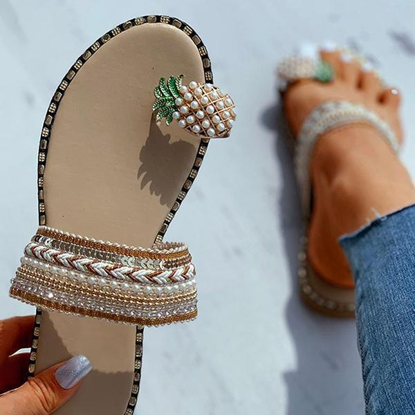 Faddishshoes Pineapple Pattern Toe Ring Flat Slippers