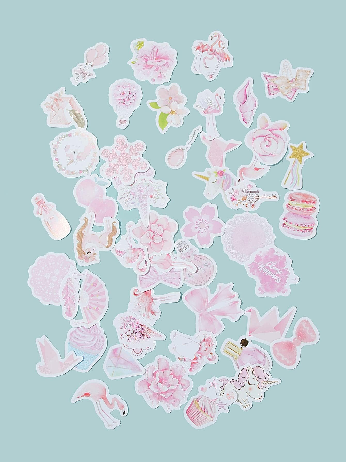 Flower & Unicorn Print Sticker 50pcs
