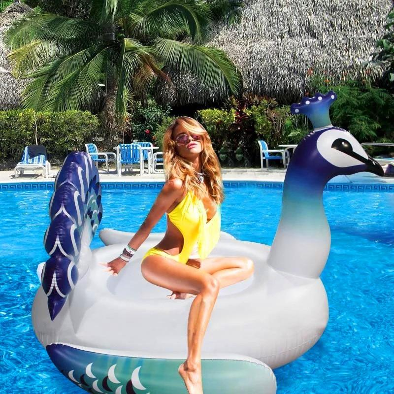 New 150cm Peacock Pool Floating Bed Inflatable Swimming Mattress