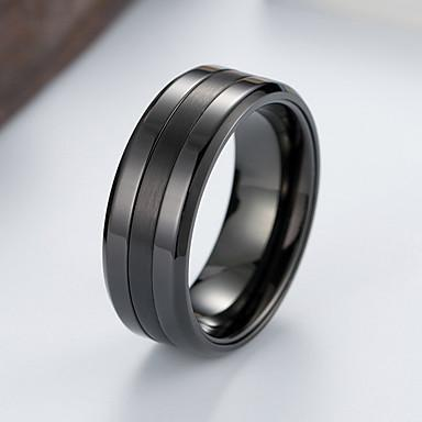 Men's Band Ring Ring Groove Rings 1pc Black Silver Tungsten Steel Steel Stainless Stylish Basic Trendy Birthday Gift Jewelry Classic Cool