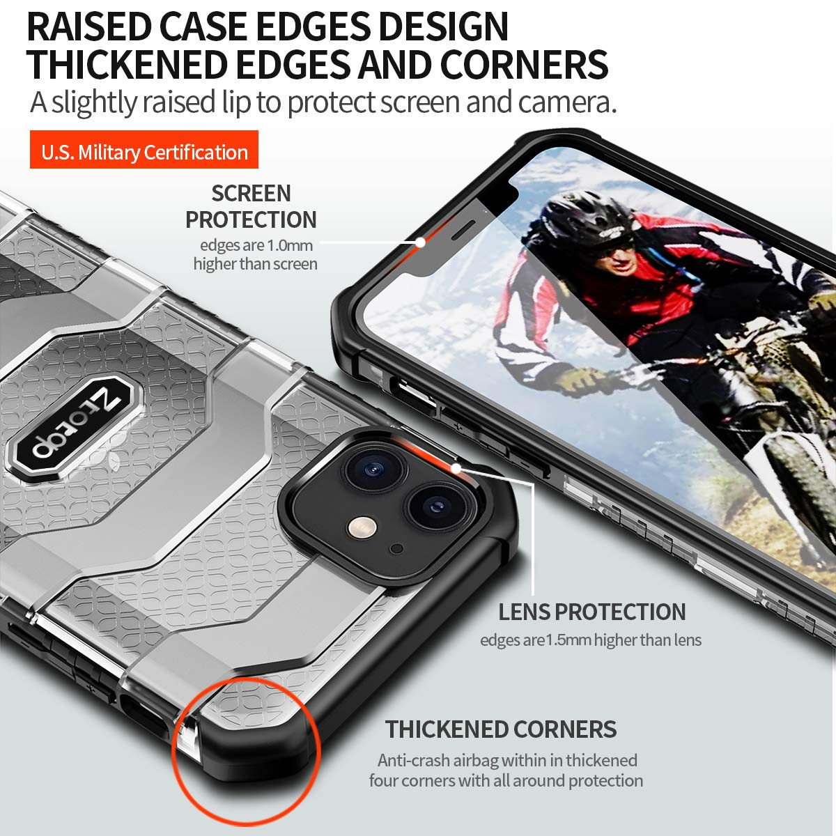 Armor Protector for iPhone, Matte Hard Translucent PC Back Cover with Flexible TPU Frame, Shockproof Cover Case