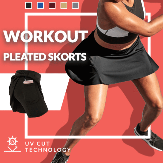 [Last Day Promotion & On-Time Delivery]Ultra-thin Breathable Workout Pleated Skort