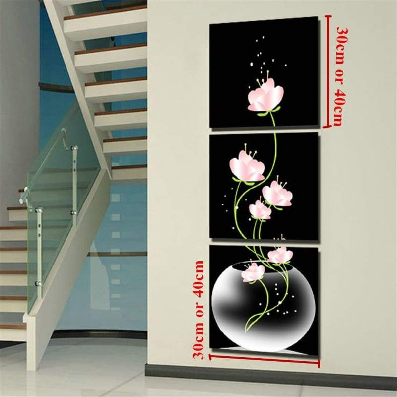 3 pcs Modern Black Abstract Art Flower Canvas Oil Painting Picture Print Home Room Wall Decor