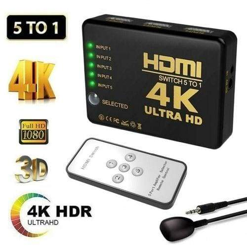 HDMI Splitter Switch 4K 5 in 1 Adapter Switcher Ultra HD HDCP 3D HDR