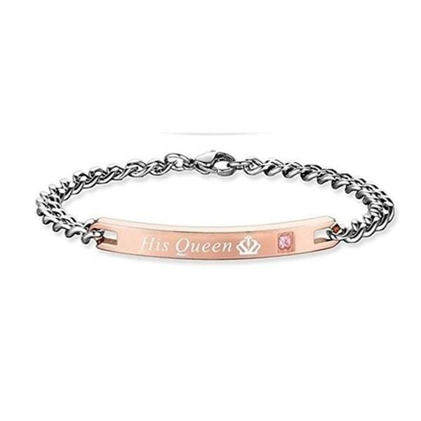 Lover Bracelet His Queen Her King Bracelet Matching Set Titanium Wristband Couple Bracelet