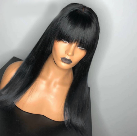 CLASSYWIG| Human Hair Straight Pre Plucked Wig With Baby Hair Wig With Bangs Preplucked Lace Wig Remy