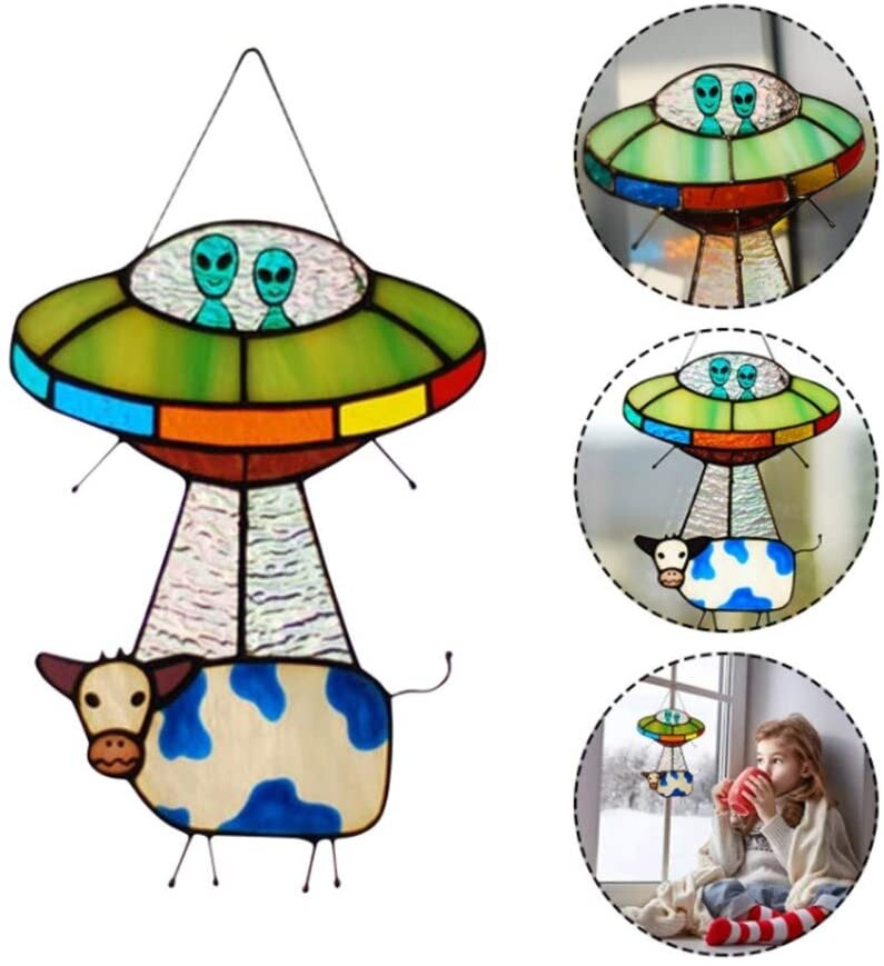 【Store Anniversary Promotion】Alien and Cow Stained Suncatcher Window Panel, Painted UFO Pendant