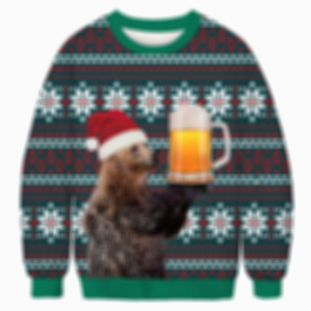Brown Bear and Beer Christmas Sweater