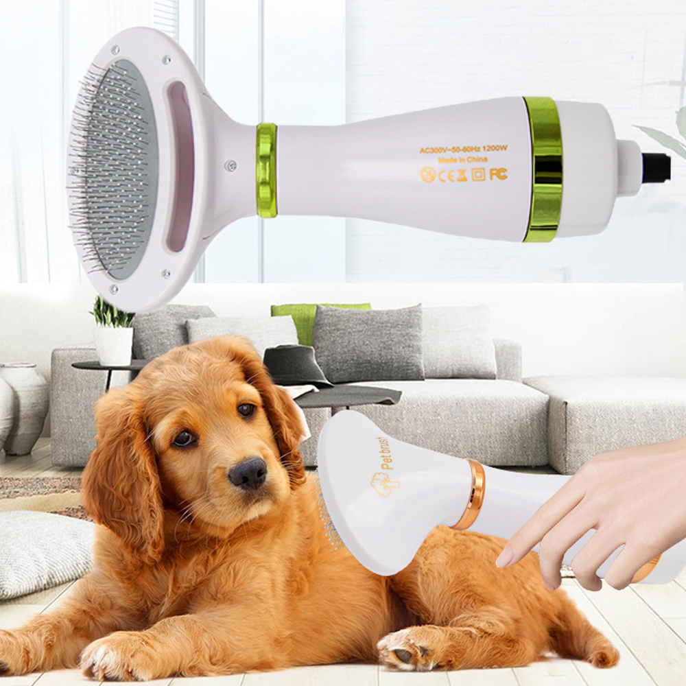 New 2-In-1 Portable Pet Electric Hair Dryer Hair Removal Comb Brush