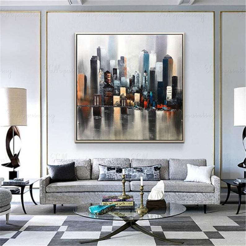 Original acrylic abstract painting city landscape on canvas wall art picture for living room bedroom home wall decoration black blue texture