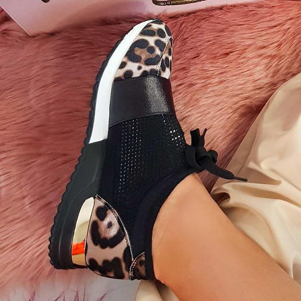 Lalarosa Faux Suede Embellished Trainers In Leopard Sneakers