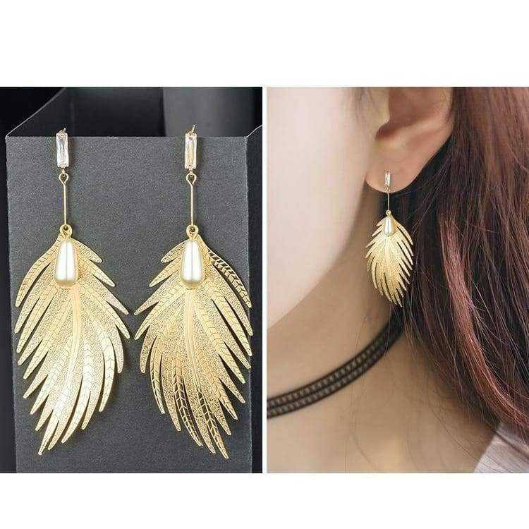 creative environmental protection feather plated Pearl Earrings
