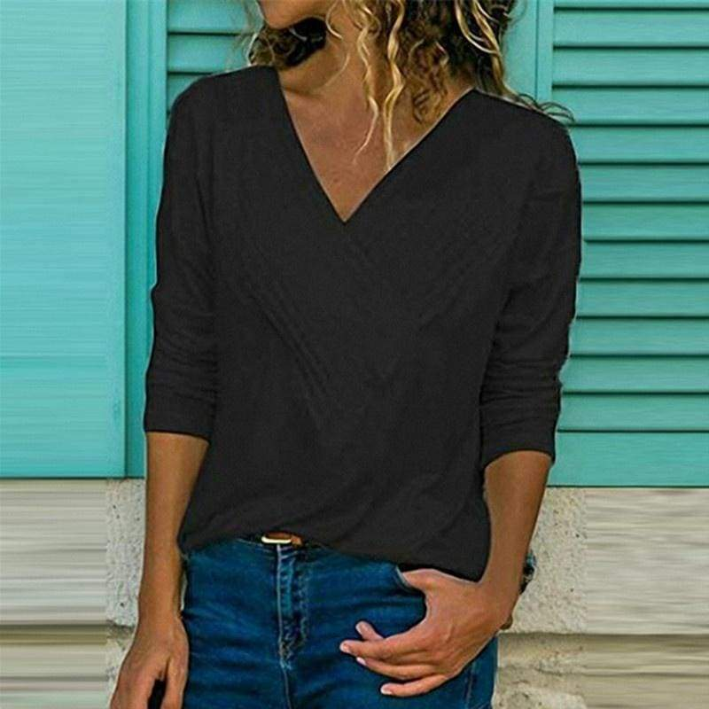 NEW Women Tops V-neck Pleated women clothing Long sleeve Solid color plus size Loose T-shirt