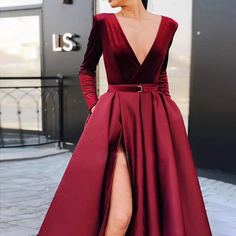 Deep V Long Sleeve Split Long Evening Dress