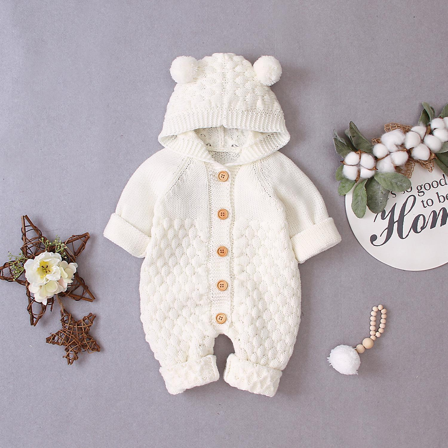 Children's baby solid color fur ball hooded knitted jacket one-piece
