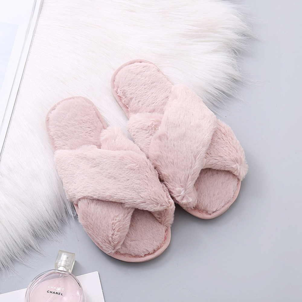 Women Fluffy Winter Sandal Cross Plush Open Toe Sandal Soft Flat Shoes Warm Faux Fur Slipper Home Female Shoes