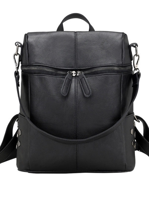 Leather solid color zipper casual backpack