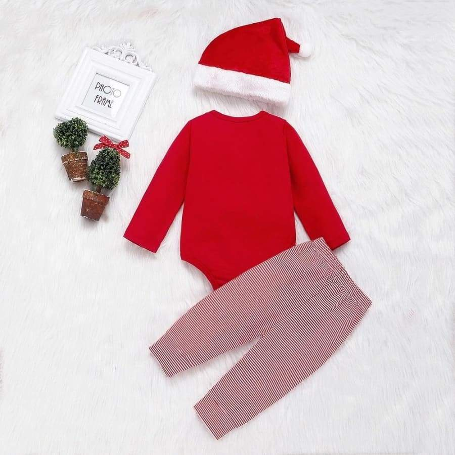 Christmas Outfit 'My First Christmas' Baby Boys and Girls Bodysuit Pant Hat 3Pcs Sets Baby Outfits