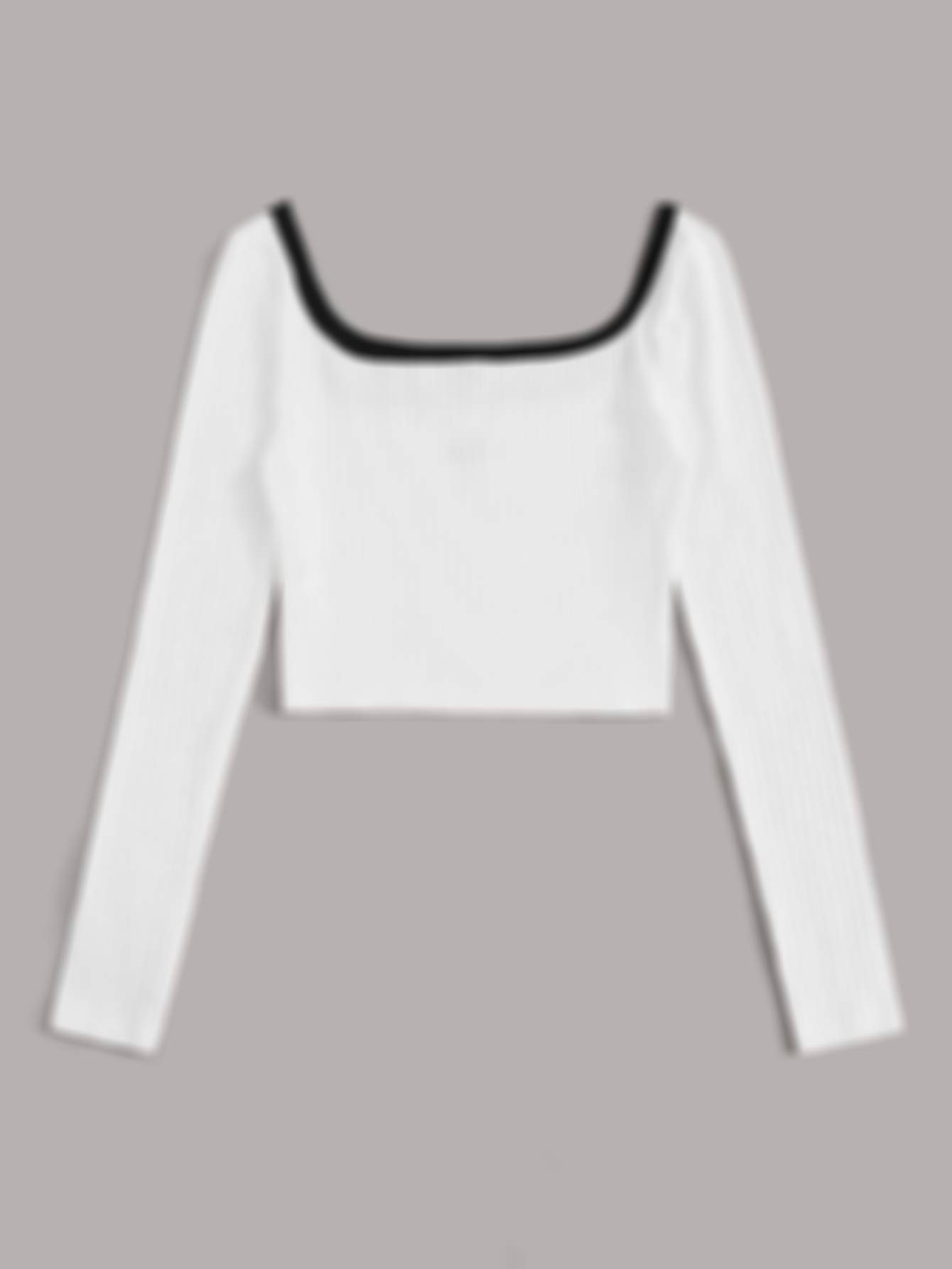 SHEINContrast Trim Embroidered Letter Rib-knit Top